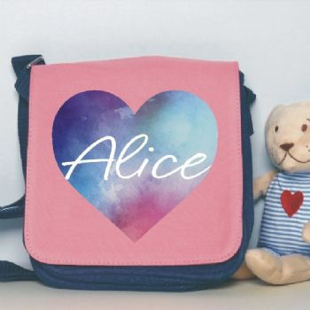 Watercolour Heart Design Shoulder Bag - Personalised with Name